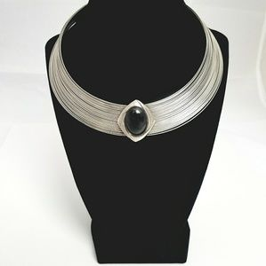 Silver Black Cleopatra Egyptian Statement Collar